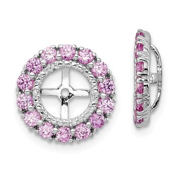 925 Sterling Silver Rhodium Diamond and Created Pink Sapphire Earring Jacket