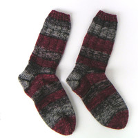Hand knit woman's washable wool socks