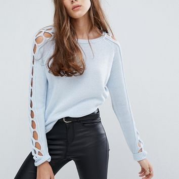 Vero Moda Lattice Detail Sweater at asos.com