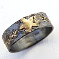 mens gold star ring, mens wedding band gold and silver, night sky ring, mens promise ring, viking wedding ring gold, celtic wedding band men