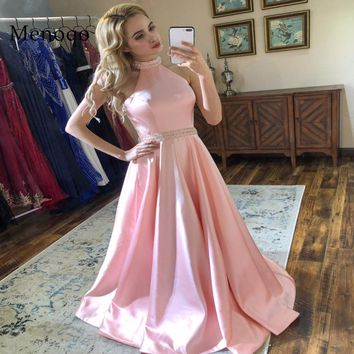 Arrival Long Prom Dresses Pink Beaded Halter Neck Sleeveless Satin Formal Evening Dress Party Gown Backless