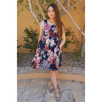 Singing At Sunset Blue Floral Print Sleeveless Dress