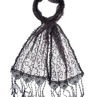 Bohomonde Adeline Scarf, Embroidered Shawl Stunning Crochet Lace Fringe Black