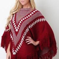 Fringe Hem Patterned Crew Neck Poncho