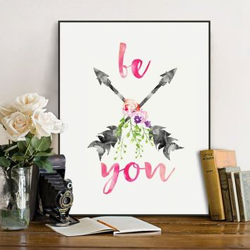 Be You Watercolor Arrows Wall Hanging Art Print Nodic Art Paint Kids Room Inspirational Quotes Wall Art Paper Decor Unframed