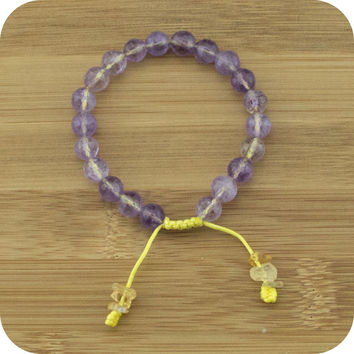 Faceted Ametrine Yoga Bead Bracelet with Citrine