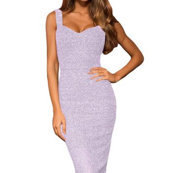 Violet Sleeveless Glitter Midi Dress