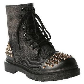 Gia-Mia Girls' Rock Star Studded Combat Boots - Black