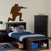 ik709 Wall Decal Sticker soldiers US Army Military Weapon pistol rifle shooter