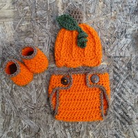 Crochet Baby Pumpkin Outfit Newborn Halloween Photo Prop