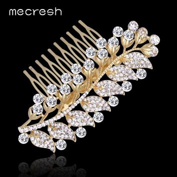 Crystal Rhinestone Bridal Hair Combs For Women Gold-Color Leaf Wedding Hair Accessories