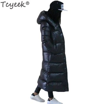 Tcyeek Winter Women Down Coat Jacket Black Thick Parkas Female Hooded Collar Jacket Warm Outerwear Women Winter Jacket YYJ210