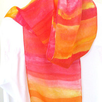 Silk scarf hand painted orange shades by SilkDesignByJane on Etsy