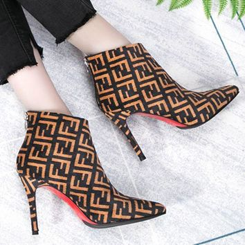 Fendi Women Fashion New More Letter Print Pointed Shoes High Heels Boots Brown