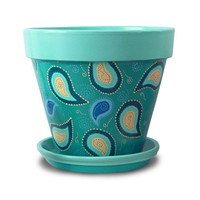 Flower Pot, Aqua, Blue, Turquoise, Paisley, Funky, Garden, Living Room Decor, Planter