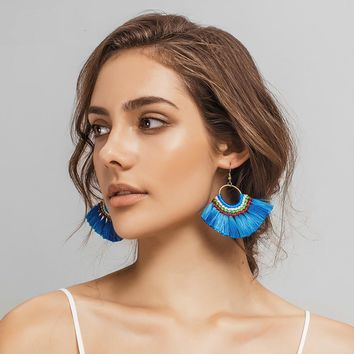 10 Colors Boho Tassel Earrings Handmade Long Earring Colorful Drop Earring for Women Jewelry Gifts 171127