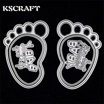 KSCRAFT Baby Girl Boy Feet Metal Cutting Dies Stencils for DIY Scrapbooking/photo album Decorative Embossing DIY Paper Cards