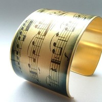 Love Music Brass Cuff Bracelet  Musical by JezebelCharms on Etsy
