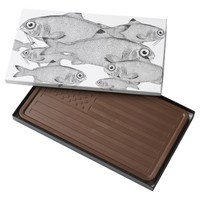 Strange vintage fish drawing milk chocolate bar