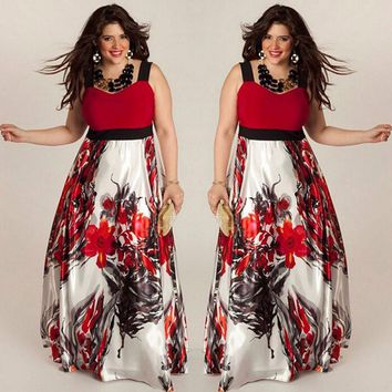plus size women floral printed long evening party prom gown formal dress jurken zomer dames beach robe longue