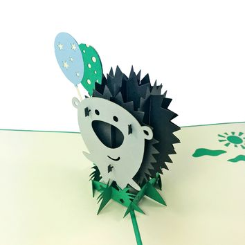 Wow Little Porcupine - 3D Pop Up Greeting Card for All Occasions Birthday, Love, Congratulations, Good Luck, Anniversary, Cute, Kids, Friendship,Family,Baby Shower,Animals - Premium Paper, Handcrafted