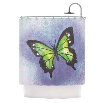 "Padgett Mason ""Lime Green Flutter"" Purple Lavender Shower Curtain"