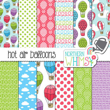 Hot Air Balloon Digital Paper - balloon seamless patterns in pink, aqua, lavender and lime - balloon scrapbook paper - commercial use OK