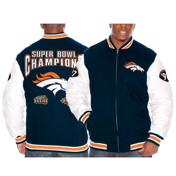 Denver Broncos Triple Double Commemorative Jacket – Navy Blue