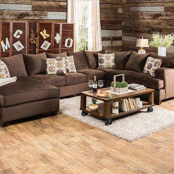 3 pc Wessington collection chocolate fabric upholstered sectional sofa set with rounded square arms