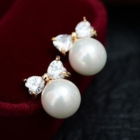 Pearl and Heart Bow Rhinestone Earrings - LilyFair Jewelry