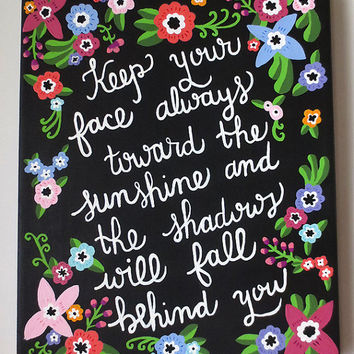 Inspirational Quote Canvas, Floral Quote Canvas, Walt Whitman Quote