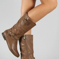 Meley-5 Buckle Round Toe Riding Mid Calf Boot