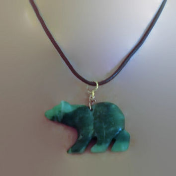 Jadeite  Bear Boho Chic Leather Necklace with Green Jadeite Pendant 18 Inches Handmade Gift for Her Minimalist