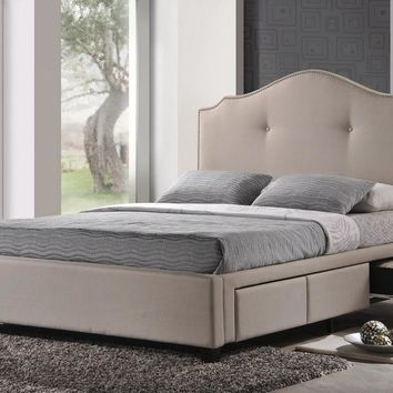 Baxton Studio Armeena Beige Linen Modern Storage Bed with Upholstered Headboard - King Size Set of