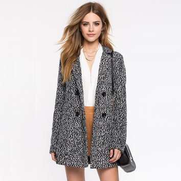 Gray Long-Sleeve Button Notched Coat