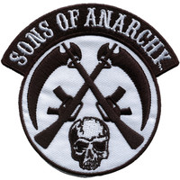 Sons Of Anarchy Men's SOA Crossed Skull & Gun Embroidered Patch Black