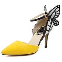 Free shipping new fashion Butterfly Dream buckle women pumps sexy pointed wedding party nightclub high heels shoes women