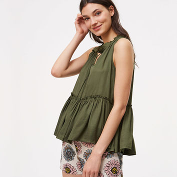 Shirred Peplum Shell | LOFT