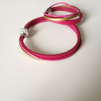 Mommy & Daughter Matching Bracelets - Mommy Me Leather Bracelets - Matching Set - Pink Gold Leather Bracelets