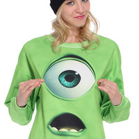 Green Monster Print Sweatshirt