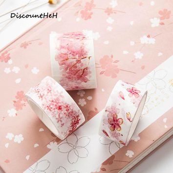 1 Pc  Cherry Blossoms Japanese Paper Washi Tape Office Adhesive Tape Kawaii Decorative Stationery Stickers