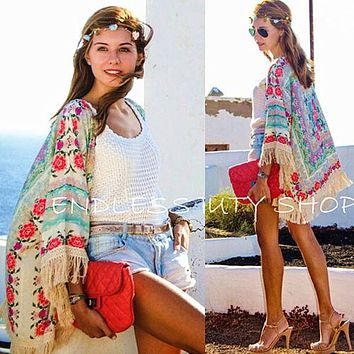 Women Ladies Summer New Boho Hippie Tassels Shawl Top Floral Kimono Loose Blouse Cape Cardigan