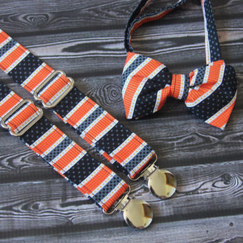 Orange, Black, White and Gray Stripe Bow Tie and Suspenders set  ( Men, boys, baby, toddler, infant Suspender and Bowtie )