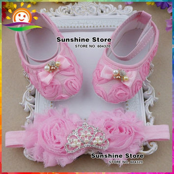 New baby shoes Headbands set,queen Rhinestone/pearl Toddler Crown newborn shoes,shabby flower baby girl boots shoes 3 set/lot