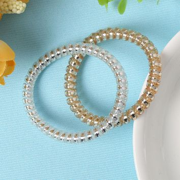 10 Pcs New Gold/Silver Color Elastic Rubber Telephone Wire Hair Bands Ponytail Holder Hair Accessories