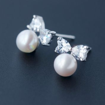 Sweet bowtie pearl zircon 925 sterling silver earrings,a perfect gift