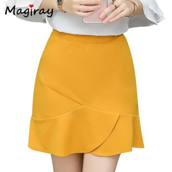 Magiray Harajuku Ruffle A-line Mini Skirt 2018 Summer Women Split Korean High Waist Plus Size Casual Clothes Yellow Skirt C225