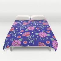 Floral Dot Motif (Blue version) Duvet Cover by Sarah Oelerich