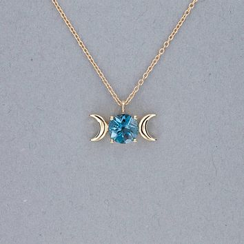 Triple Moon Goddess Necklace-Solid 14k Gold with London Blue Topaz