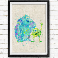 Mike and Sulley Poster, Monsters Inc Disney Watercolor Art Print, Kids Wall Art, Kids Decor, Gift, Not Framed, Buy 2 Get 1 Free